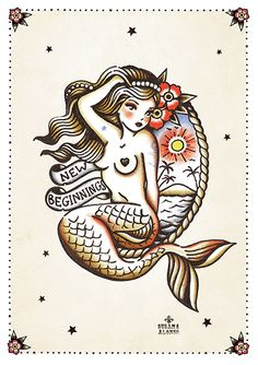 Now that you are certain that you want to get inked, the next thing for you to do would be to get a tattoo design that you will be proud of and won't regret. Pin Up Mermaid, Mermaid Art, Pin Up Tattoos, Body Art Tattoos, Mermaid Tattoos, Mermaid Tattoo Designs, Old School Tattoo Designs, Sailor Jerry Tattoos, American Indian Tattoos