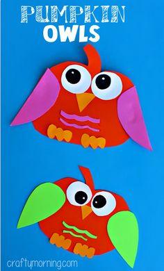 Create these adorable pumpkin owls using colored paper, Elmer's School Glue, scissors, and a black marker. Perfect for teachers and parents! #kidscraft #owl #pumpkin