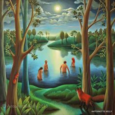 """Moonlight skinny-dip"" by British artist Antoinette Kelly. Moonlight Painting, Art Uk, Original Art For Sale, Naive Art, It Goes On, Art Images, Saatchi Art, Original Paintings, Skinny"
