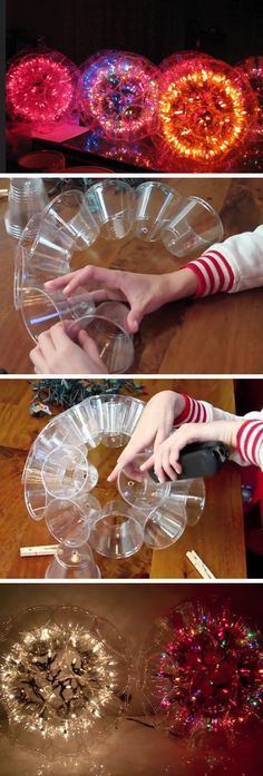 How to Make a Sparkle Ball DIY Christmas Decorations for Outside Ideas Easy Outdoor Christmas Decor Ideas for Porch Christmas Decorations For The Home, Easy Christmas Crafts, Simple Christmas, Christmas Holidays, Christmas Ornaments, Outdoor Decorations, Craft Decorations, Christmas Room, Christmas Ideas