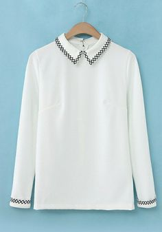 52c17b8e33f White Cotton Blends Constrast Lapel Long Sleeve Plain Tops