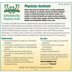 Wayne State University Physician Group  Physician Assistant wanted in Detroit Michigan | NEWS-Line for Healthcare Professionals #physicianassistant #NEWSLine