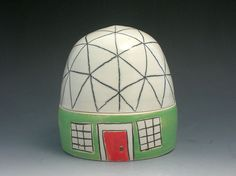 Geodesic dome - Buckminster Fuller style ceramic canister by Bellajoy $50