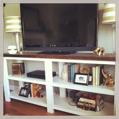 DIY tv stand /Ana white rustic x console table- lower and maybe only one shelf, but I like the white