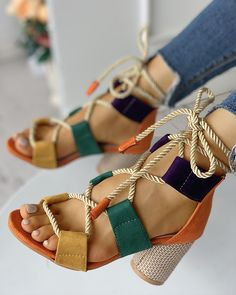 Colourblock Lace-up Chunky Heels Open Toe Sandals Shop Women's Latest Fashion Clothes . Come and Get Extra Discount. Block Sandals, Lace Up Sandals, Open Toe Sandals, Lace Up Heels, High Heels, Shoes Heels, Heeled Sandals, Strappy Shoes, Flat Sandals
