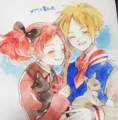 Mary and Peter with Tib and Gib the cats from Mary and the Witch's Flower Beloved Film, Studio Ghibli Art, Ghibli, Cartoon, Japanese Animation, Art Reference Photos, Witch, Animation, Fan Art