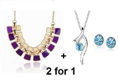 2For1 Bicolor Enamel Statement Real White GP Blue Crystal Necklace+Stud Earrings