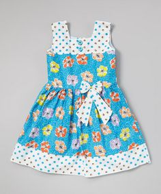 Another great find on #zulily! Blue Polka Dot Floral Pleated Dress - Toddler & Girls #zulilyfinds