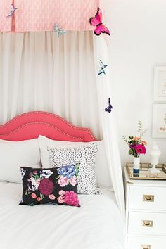 Vivienne Floral Pillow - Berry  styled girls room. pink. modern girls room