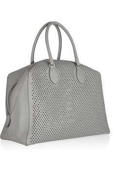 Coveting.  ALAÏA Perforated grey leather tote