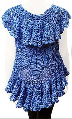 Another beauty from Gourmet Crochet. This interesting shrug begins with a round medallion at back, and finishes with cascading ruffles around all edges. Whether you leave the sides loose or hold in place with a pin, this garment is worn like a vest with a dress or slacks and top. Optional sleeve variations included. The pattern covers sizes S-5X. Garment shown is made with soft worsted-weight yarn; but may be made with any yarn up to worsted-weight. To make garment shown with soft ...