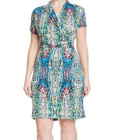 Look what I found on #zulily! Blue & Violet Dot Surplice Dress - Plus #zulilyfinds