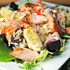 Mediterranean Salmon Salad with Kalamata Olives, Red Bell Peppers, Artichoke Hearts,Red Onions, Feta Cheese