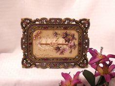 Framed Vintage 1908 Easter Postcard - Floral Arrangement w/Eggs. $32.00, via Etsy.