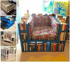 DIY bookshelf chair. When I have my own classroom one day, this will be a must!