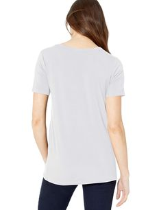 Yummie Womens Crew Neck Open Back Short Sleeve Cover Up Tee