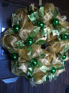 Gold and Green Christmas Balls Wreath