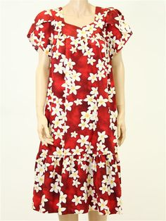 df8e82c9752 Short Zipper Muu Muu  Plumeria   Red  - Middle Dresses - Hawaiian Dresses