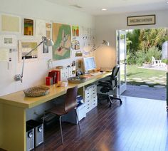 Another along-the-wall-shared office desk - There She Blogs: Split Decision: Shared Home Office Space