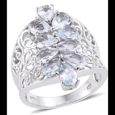 Aquamarine, Espírito Santo 3.50 CTs Aquamarine, Espírito Santo  Ring features gorgeous pear shape gems in Platinum Overlay .925 Sterling Silver Nickel Free (Size 7.0) TGW 3.500 CTs. The Espírito Santo mine in Brazil is said to produce the most amazing Aquamarine. These beautiful gems are in a stunning setting with perfect color. Jewelry Rings