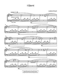 Ludovico Einaudi: I Giorni sheet music for piano: http://www.sheetmusicdirect.com/se/ID_No/47141/Product.aspx