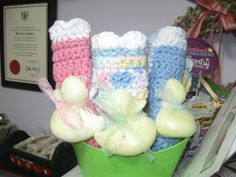 Ducks in the Tub!  Hand crochet face cloths with Ducky soap - Goat's milk soap scented with Baby Powder and Lavender!  $4.00
