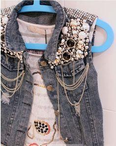 Embellished Denim Vest | eBay