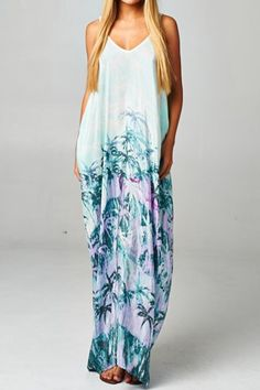 Mint/Faded Turquoise Boho Slouchy Maxi Dress Sun/Summer