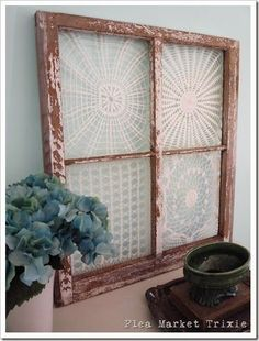 Nite Special 120 - old windows My two great loves: old windows + doilies. And they lived happily ever after.My two great loves: old windows + doilies. And they lived happily ever after. Framed Doilies, Lace Doilies, Crochet Doilies, Crochet Lace, Lace Knitting, Crochet Wedding, Wedding Lace, Funky Junk Interiors, Store Interiors