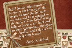 "Relief Society helps us...  Get Relief Society Ideas at - www.MormonLink.com  ""I cannot believe how many LDS resources I found... It's about time someone thought of this!""   - MormonLink.com"