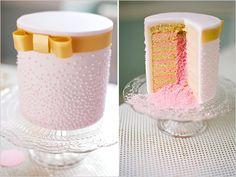 pink wedding cake - surprise centre!