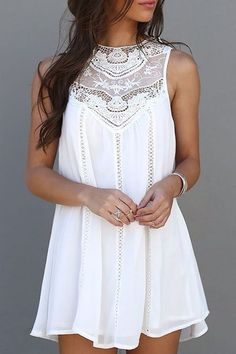 Sweet Round Neck White Cut Out Lace Splicing Sundress For Women