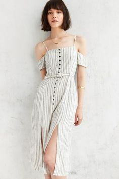 Cooperative Adele Off-The-Shoulder Striped Dress - Urban Outfitters