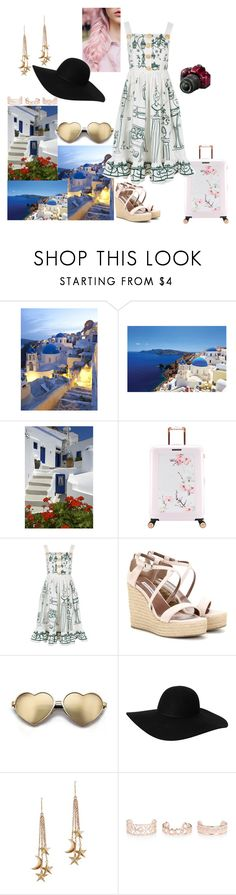 """Places i want to travel: Santorini"" by bruna-love13 on Polyvore featuring moda, Ted Baker, Dolce&Gabbana, Tabitha Simmons, Beauty Secrets, Wildfox, Monki, London Road, New Look e Nikon"