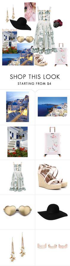 """Places i want to travel: Santorini"" by bruna-love13 on Polyvore featuring moda, Ted Baker, Dolce&Gabbana, Tabitha Simmons, Beauty Secrets, Wildfox, Monki, London Road, New Look e Nikon"