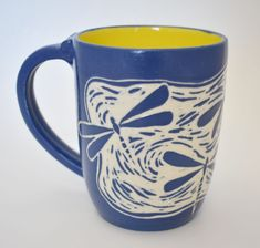 Blue dragonfly sgraffito carved coffee mug