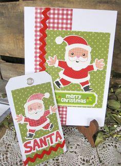 Christmas Card, Santa Claus Card, Christmas Tag, Santa Tag, Handmade Christmas Card, Bright,  Holiday Card, Cottage Style cssteam. $4.00, via Etsy.