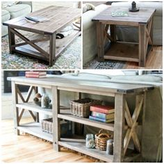 Rustic Stylish and Simple DIY Sofa Table. I love that you could just make more - Coffee Set - Ideas of Coffee Set - Rustic Stylish and Simple DIY Sofa Table. I love that you could just make more and they would all match. Garden Furniture Sets, Furniture Projects, Furniture Plans, Rustic Furniture, Home Projects, Home Crafts, Home Furniture, Diy Home Decor, Entry Furniture