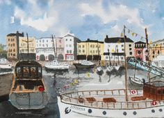 ARTFINDER: Boats in Ramsgate Harbour, An origina... by Julian Lovegrove Art - I painted this watercolour from many sketches and previous watercolours of the boats moored in Ramsgate Harbour. It is a place I have spent many happy hours ...