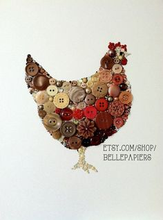 Button Art Swarovski Rhinestones Brown Hen Chicken by BellePapiers, $104.00