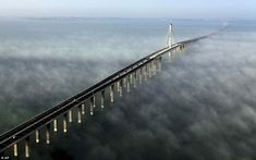 World's longest sea bridge at 26.4 miles long   opens to traffic in China   Read more: www.dailymail.co....