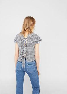 Bow gingham blouse | MANGO