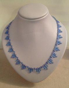 Sky blue glass dagger beaded necklace by Jewellery by Janine https://www.facebook.com/JewelleryByJanine