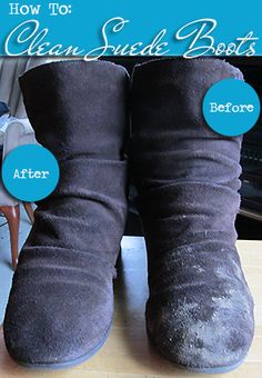 How To: Clean Suede Boots. This worked so well for me yesterday! My favorite boots were covered in mud! Clean Suede Boots, How To Clean Suede, Suede Shoes, Uggs For Cheap, Ugg Boots Cheap, Boots Sale, Diy Cleaning Products, Cleaning Hacks, Diy Products