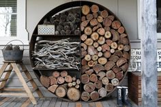 I want you to meet The Unearthed Wood Stacker - an aesthetically stunning firewood storage unit. It consists of a circular segmented frame that separates the firewood into 4 compartments.