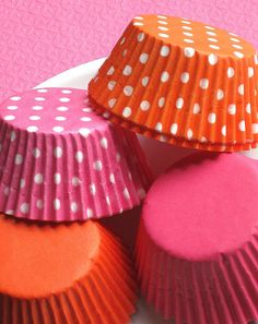 Pink and Orange Cupcake Liners in Solids by thebakersconfections,