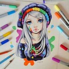 Art - colorful, nostalgic, beautiful, ... She doesn't know where she belongs. What does art mean to you? :) #art #nostalgic #beautiful #artist #manga #anime #girl #woman #hat #selfie #traditional #artist #lighane #lighanesartblog #sweet #adorable #copic #marker