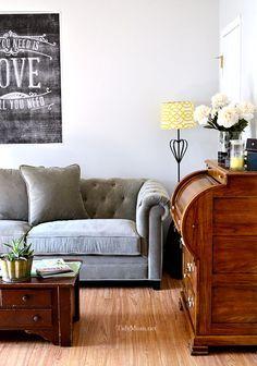 loving my new Martha Stewart tufted gray sofa.  family room makeover in progress at TidyMom.net