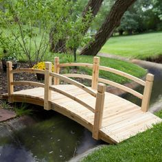 8-Ft Freestanding Landscape Garden Bridge in Unfinished Fir Wood - Quality House