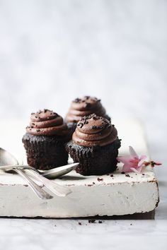 Chocolate cupcakes- beautiful food styling and photography! Oreo Desserts, Mini Desserts, Chocolate Desserts, Easy Desserts, Delicious Desserts, Chocolate Cupcakes, Raspberry Desserts, Chocolate Muffins, Christmas Desserts